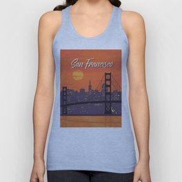 San Francisco vintage poster travel Unisex Tank Top