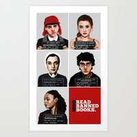 Banned Books Mugshots (Red) Art Print