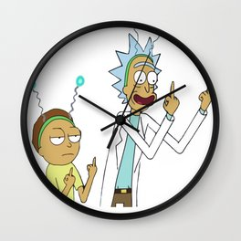 Rick and morty flipping the bird_vectorized Wall Clock