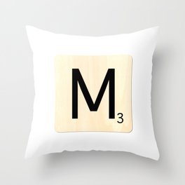 Scrabble M Throw Pillow