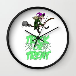 Funny Halloween Trick Or Treat Witch Gift Horror Wall Clock