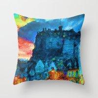 edinburgh Throw Pillows featuring Edinburgh Evening by E.M. Shafer