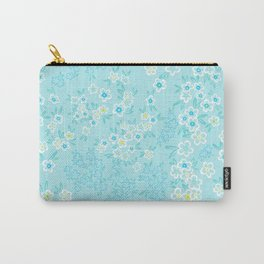 Forget Me Knot - Little Flowers on aqua Carry-All Pouch