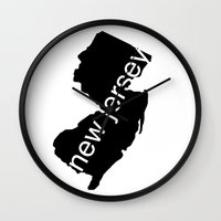 new jersey Wall Clocks featuring New Jersey by Isabel Moreno-Garcia