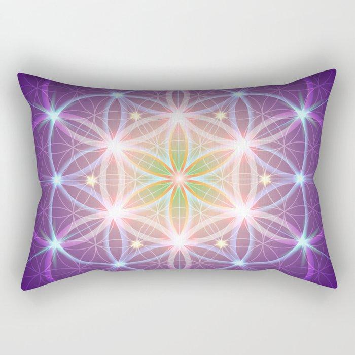 Purple Flower of Life Rectangular Pillow