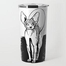 Black and White Sphynx Cat Line Drawing - Sphynx Lovers Gift - Naked Cat - Wrinkly Kitty Travel Mug