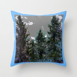 BABY BLUE WESTERN PINE TREES  LANDSCAPE Throw Pillow