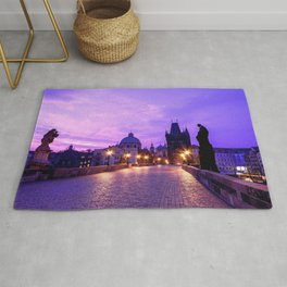 Historic Charles Bridge In Prague Czech Republic Purple Shade Ultra HD Rug