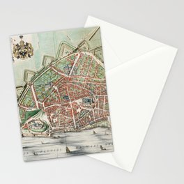 Vintage Map Print - Atlas van Loon - Plan of the City of Nijmegen, 1649 Stationery Cards