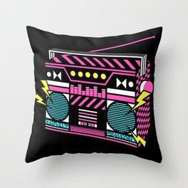 80s/Eighties Retro Music Boombox. Throw Pillow