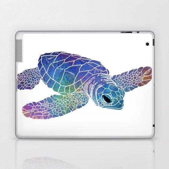 Colorful Sea Turtle I Laptop & iPad Skin
