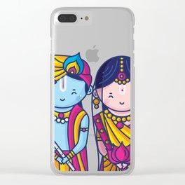 Cute Radha Krishna Clear iPhone Case