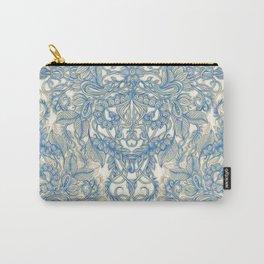 Blue & Tan Art Nouveau Pattern Carry-All Pouch