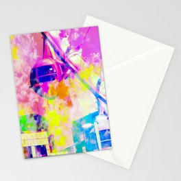 Ferris wheel and modern building at Las Vegas, USA with colorful painting abstract background Stationery Cards