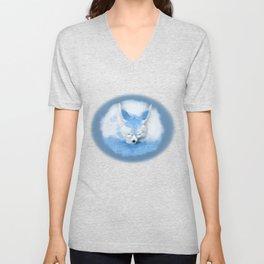 Sleeping Fennec Fox Blue Unisex V-Neck