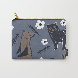 Fisher Martens pattern in violet blue and brown Carry-All Pouch