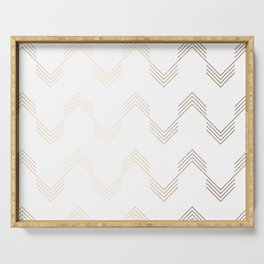 Simply Deconstructed Chevron White Gold Sands on White Serving Tray