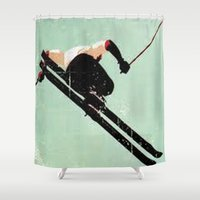 ski Shower Curtains featuring Ski Jump by Nezz