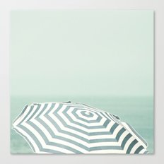 Parasol - Summer Beach Blue Stripes Photography Canvas Print