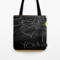 bible Tote Bags featuring Bible School Lesson #1 by serloren