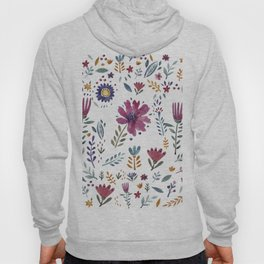 Watercolor Flowers White Hoody