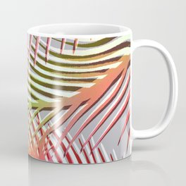 Palm Leaves Pattern - Pink, Gray, Orange Coffee Mug