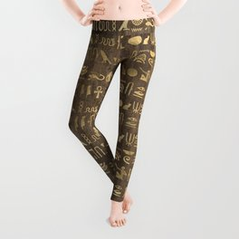Brown & Gold Ancient Egyptian Hieroglyphic Script Leggings