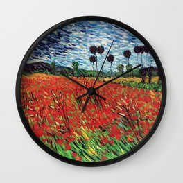 Field Of Poppies Vincent Van Gogh Painting Wall Clock