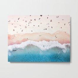 Aerial: Sandy Beach in Vivid Colours Metal Print