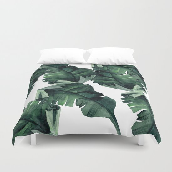 Banana Leaves Pattern Green Duvet Cover By Simple Luxe