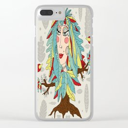 quirky bohemian boho tree, leaves and feather fantasy woman / girl Clear iPhone Case