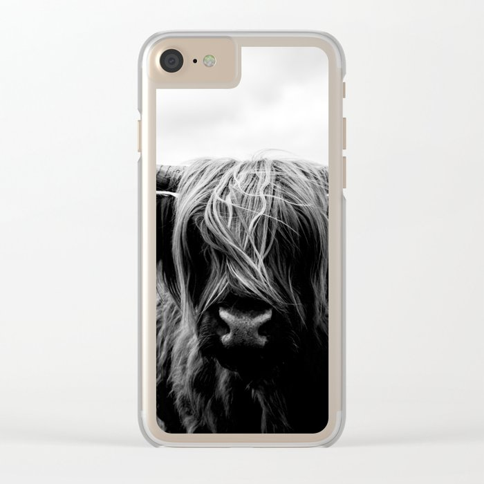 Scottish Highland Cattle Black and White Animal Clear iPhone Case
