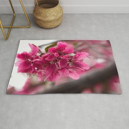 Droplets on Dark Pink Crabapple Blossoms Rug