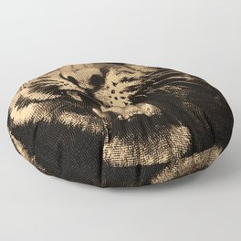 Vintage Tiger in black Floor Pillow