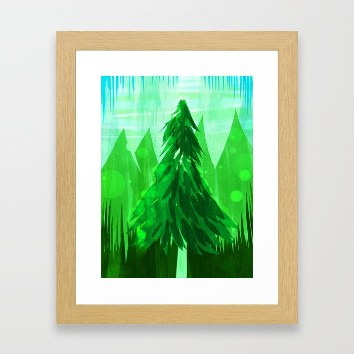 Tall Greens Framed Art Print