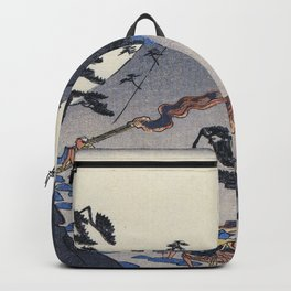 Hiroshige Travellers on a Mountain path at night Backpack
