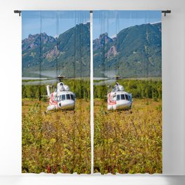 Helicopter landed in an autumn landscape Blackout Curtain