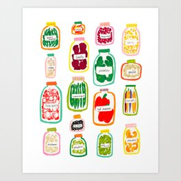 Jars of Fruit & Veg Art Print