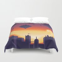 cities Duvet Covers featuring Cities in the Sky by Souzou Inc