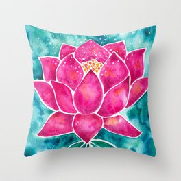 Sacred Lotus – Magenta Blossom with Turquoise Wash Throw Pillow