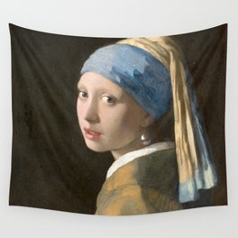 Johannes Vermeer - Girl with the pearl earring (1665) Wall Tapestry
