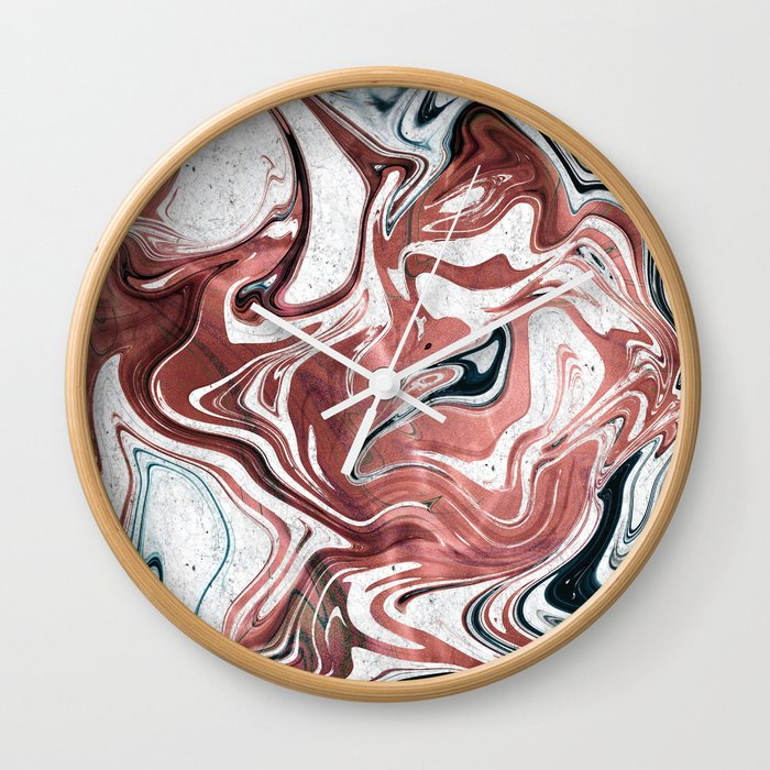 Liquid Rose Gold And Marble Wall Clock By Luxuryhome