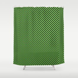Green Flash and Black Polka Dots Shower Curtain