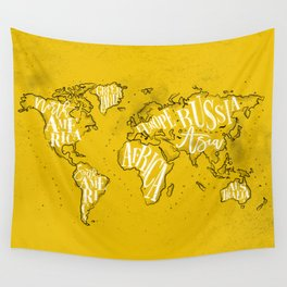 Worldmap vintage yellow Wall Tapestry