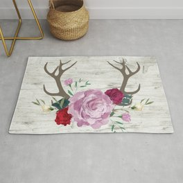 White Wood with Romance Flowers Rug