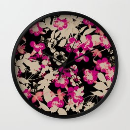 pink flower with silhouette leaves on black Wall Clock