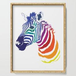 Rainbow Zebra Colorful Animals Whimsical Art Serving Tray
