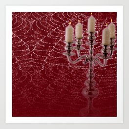 Red Damask Web Candelabra Art Print
