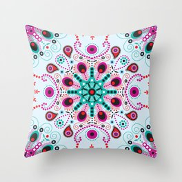 Pointillism mandala | Light blue, red and purple Throw Pillow