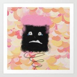 scared sad afro spring thing Art Print